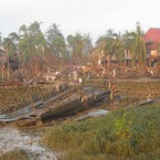 Destruction caused by Cyclone Giri on 22 October 2010 in a village east of Sittwe, Rakhine State, Myanmar. © MSF