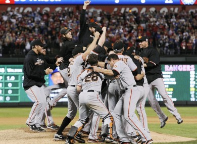 The San Francisco Giants celebrate their World Series title after beating the Texas Rangers 3-1 in Game 5 at Rangers Ballpark in Arlington last night.