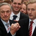 Richard Bruton and Enda Kenny shake hands in June after Kenny wins the vote at a crucial parliamentary party meeting for the leadership of Fine Gael. Kenny sacked Bruton from his position as deputy leader after he failed to pledge his support to Kenny as leader.