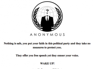 Visitors to www.finegael2011.com were this evening presented with this message, posted by members of the Anonymous collective.