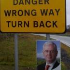 TheJournal.ie reader @Gina_inTipp spotted this unfortunate juxtaposition of an Eamon Gilmore poster and a rural road sign...