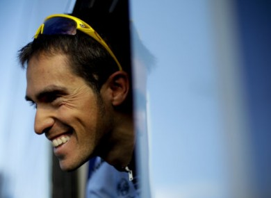 Alberto Contador lined out with Nicolas Roche in the Algarve.