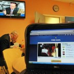 A laptop in the TV3 canteen shows a Fine Gael live web link to a public meeting in Carrick-on-Shannon where Enda Kenny was speaking as Eamon Gilmore and Micheal Martin had a leaders' debate on national television on Tuesday night.