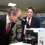 Is Micheal Martin trying to locate the future of the Fianna Fail party at medical lab testing service Claymon biomnis? The company's MD, John O'Sullivan, looks on in Sandyford, Dublin.
