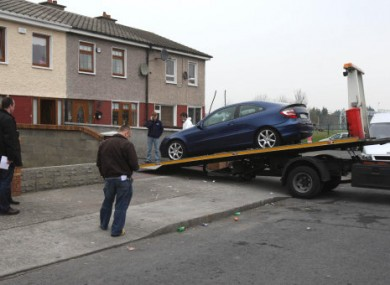 The scene at Rossmore Drive, Ballyfermot where a pipe bomb exploded under a car today