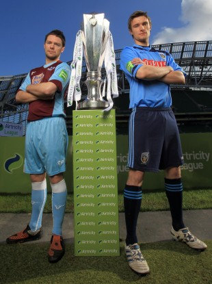 rian Gannon of Drogheda United and Michael Leahy of UCD at the Aviva Stadium.