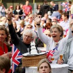 People watch the Royal wedding at a street party in Wells-next-the-sea in Norfolk.