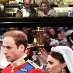 A couple watches the wedding ceremony of Britain's Prince William and Kate Middleton at a multimedia store in Ghent, Belgium, Friday April 29, 2011. (AP Photo/Yves Logghe)