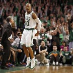 Boston Celtics' Ray Allen reacts after hitting the game winning three-point shot against the New York Knicks