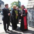 Taoiseach Enda Kenny and his wife Fionnuala, being greeted by Archbishop Diarmuid Martin at the church for Dr. FitzGeralds funeral mass. 