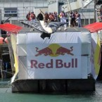 Team 'Sh*t Happens' from Celbridge take to the air at the Red Bull Flugtag.