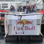 Team 'The Elev8or' from Dublin take to the air at the Red Bull Flugtag. 