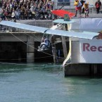 Team 'Scare Lingus'' take to the air at the Red Bull Flugtag. 