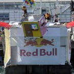 Team 'Up and Away' take to the air at the Red Bull Flugtag.
