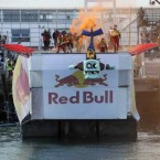 The Zombie team from games company Popcap, take to the air at the Red Bull Flugtag. 