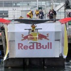 Team 'The Bird' from Dublin take to the air at the Red Bull Flugtag.