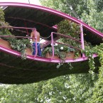 Gardeners work on the Irish Sky Garden at the Chelsea Flower Show in London.