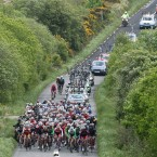 The peleton on the road to Kilrush.
