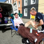 David Brennan of the Mayo Western Edge Medical Comm team gets a massage from David Sands before the race start in Kilrush this morning.