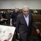 Former IMF leader Dominique Strauss-Kahn is sketched by a court artist as he leaves for a recess in his rape allegation case in New York. (AP Photo/Richard Drew, Pool)