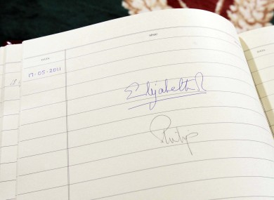 The signatures of Queen Elizabeth and the Duke of Edinburgh in the Visitors' Book at Áras an Úachtaráin, as the two began a four-day visit to Ireland today.