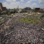 Thousands of Egyptians gather at Tahrir Square, the focal point of Egyptian uprising in Cairo, during a protest against Israel's closure of Gaza. (AP Photo/Amr Nabil)