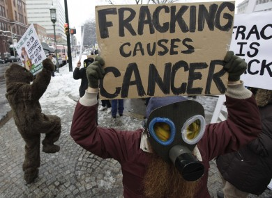An anti-fracking protester in the US, where the process has stirred controversy