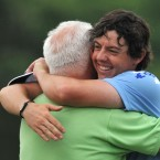 Rory McIlroy celebrates with his father after winning the US Open.