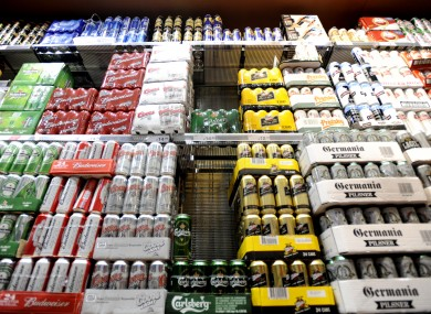 Cans of lager for sale in a supermarket