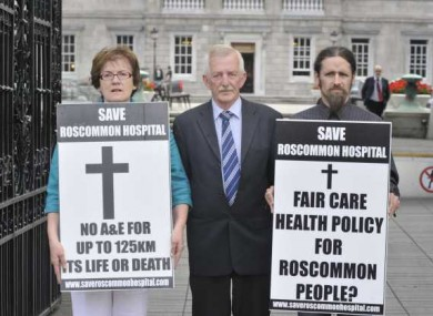 Roscommon Hospital protest against Government plans to close Roscommon Hospital outside the Irish Dail. Pictured are (LtoR) Councillor Valerie Byrne, John McDermott TD and Luke Ming Flanagan.