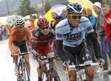 Climbing machine: Contador attacks the Col du Mansse during this year's Tour de France
