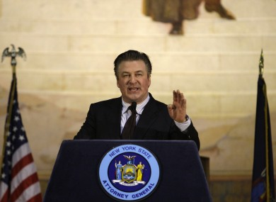 Alec Baldwin gestures while speaking before New York State Attorney General Eric Schneiderman takes the oath of office at a swearing-in ceremony at City College in New York in January.