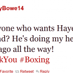 Bowe is not a fan of David Haye.
