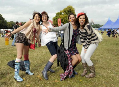 Enjoying Electric Picnic 2010: Shona Berry from Mayo, Sarah Maloney, Niamh Duffy and Jill Duffy from Laois.