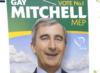 A poster advertising Gay Mitchell's European Parliament campaign in 2009. Fine Gael says it's likely to use posters in his presidential campaign - despite calls for a poster-less campaign.