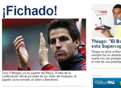 Spanish newspaper Diario Sport reports that Fabregas is finally a Barcelona player. Is it all over?
