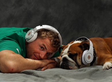 Jamie Heaslip and his dog Jay-Z are wired for sound. 