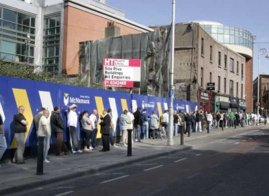 A queue for the social welfare office on Bishop Square in Dublin in June