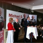 Labour's Michael D Higgins addresses a meeting in Bray this afternoon.
