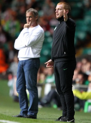 Neil Lennon during the first leg of the play-off game