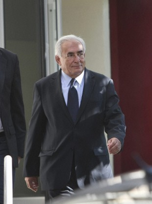 Strauss-Kahn leaves a police station after a one-on-one meeting with writer, Tristane Banon