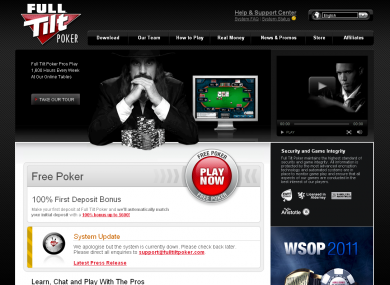 Full Tilt Poker's website remains online, although its gambling licence was suspended earlier this year.