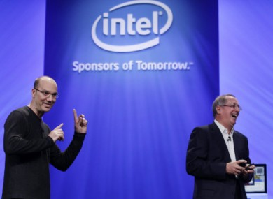 Google's Andy Rubin jokes with Intel CEO Paul Otellini as they talk about the Google Android phone running on an Intel chip.