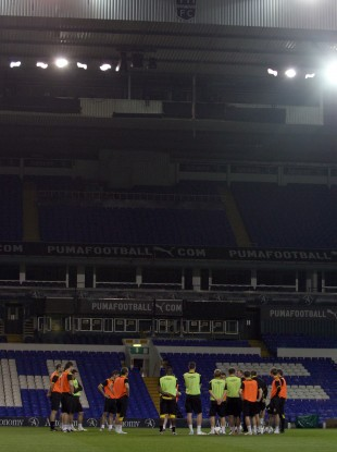 Shamrock Rovers players train at White Hart Lane last night.