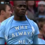He revealed a confusing shirt after scoring against Man U on Sunday (Oct. 2011):