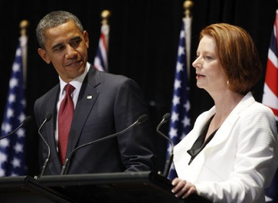 U.S. President Barack Obama, left, and Australian Prime Minister Julia Gillard hold a joint press conference in Canberra, Australia, Wednesday, Nov. 16, 2011.