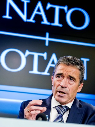 NATO Secretary General Anders Fogh Rasmussen speaks during the monthly NATO media briefing in Brussels yesterday