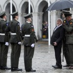 Newly inaugurated President Michael D Higgins inspects the Guard of Honour in the upper yard of Dublin Castle after he became Ireland's ninth President on Friday. 