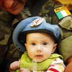 Cpl Derek Carlin with his daughter, Kaylah, at Dublin Airport, after arriving home from the Lebanon following a six month tour of duty with the United Nations peace-keeping force.