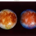 This image shows two views of Jupiter's ice-covered moon, Europa. The image at left shows the approximate natural colors of Europa – while the image at right is a false-color composite designed to enhance color differences in the predominantly frozen crust of Europa.  (AP Photo/NASA)